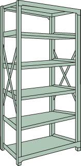 トラスコ中山 【個人宅不可】 R3型中量棚 1500X450XH2100 6段 単体 R3-7556 [A170808]