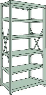 トラスコ中山 【個人宅不可】 R3型中量棚 1500X600XH2100 6段 単体 R3-7566 [A170808]