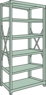 トラスコ中山 【個人宅不可】 R3型中量棚 1500X900XH2100 6段 単体 R3-7596 [A170808]