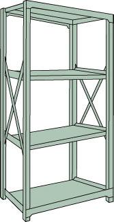 トラスコ中山 【個人宅不可】 R3型中量棚 1200X450XH1800 4段 単体 R3-6454 [A170807]