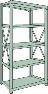 トラスコ中山 【個人宅不可】 R3型中量棚 1800X450XH1800 5段 単体 R3-6655 [A170807]