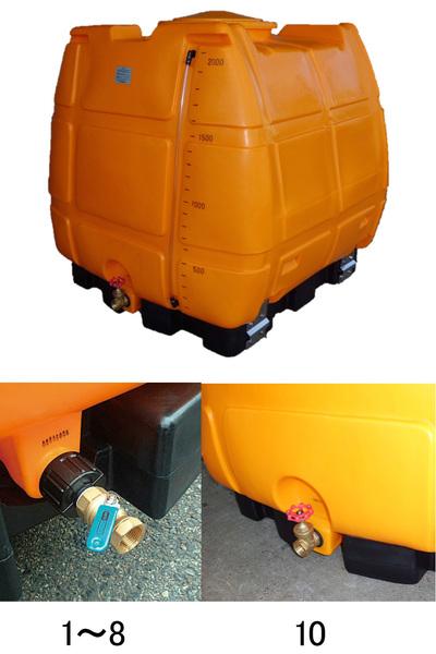 エスコ ESCO 1500L ポリエチレン容器(台・バルブ付) EA991AC-8 [I270302]