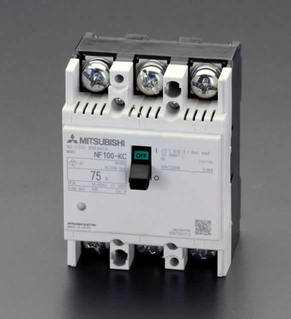 エスコ ESCO AC220V/100A ノーヒューズ遮断器 EA940MM-6 [I200202]