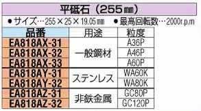 【◆◇スーパーセール!エントリーでP10倍!期間限定!◇◆】エスコ ESCO 255x25x19.05mm/GC #80 平砥石 EA818AZ-31 [I140213]