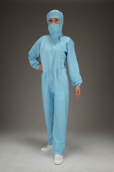 エスコ ESCO [L] クリーンルーム用フード付継ぎ服(青/サイドファスナー) EA996DC-12 [I260126]