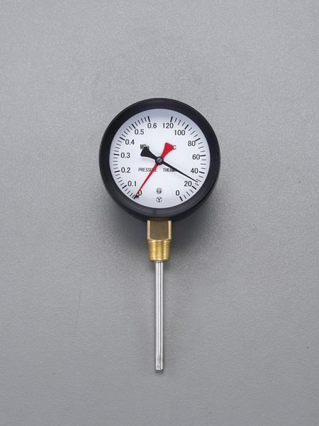 エスコ ESCO 0- 120℃/0-0.6MPa/110mm 水高計(立型) EA729PA-15 [I111105]