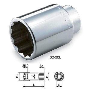 ソケット19・25.4mmならダイシン工具箱におまかせ! トネ TONE ディープソケット(12角) 6D-55L [A010806]