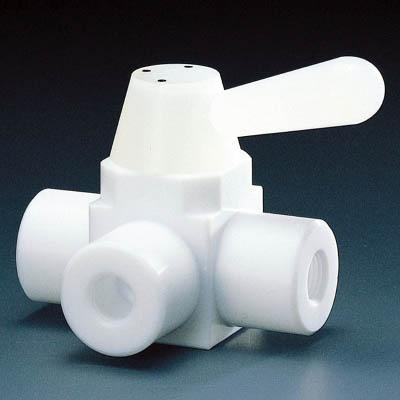 フロンケミカル フッ素樹脂(PTFE)三方ボールバルブ RC3/8 フッ素ゴム NR0002-002 [A092321]