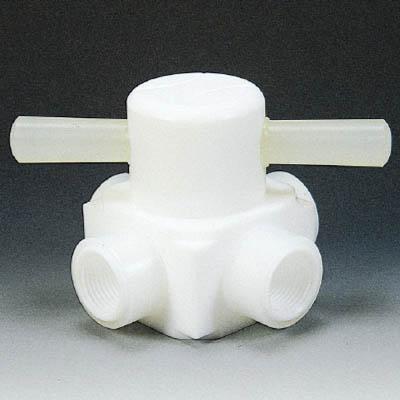 フロンケミカル フッ素樹脂(PTFE)メス四方バルブ圧入型 RC1/4 NR0008-001 [A092321]