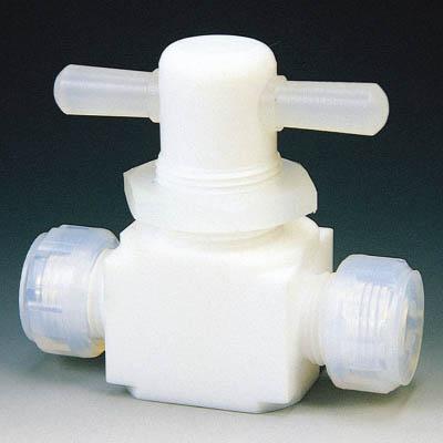フロンケミカル フッ素樹脂(PTFE)二方パネル付バルブ圧入型 8 NR0009-002 [A092321]