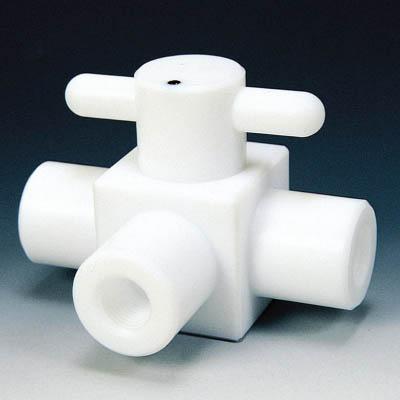 フロンケミカル PTFE コンパクト三方ボールバルブ RC1/4 フッ素ゴム NR1204-001 [A092321]