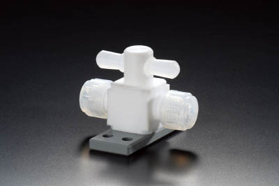 フロンケミカル フッ素樹脂(PTFE)二方バルブ圧入型ベース付 12パイ NR1327-004 [A092321]