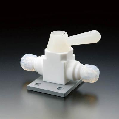フロンケミカル 【個人宅不可】 フッ素樹脂(PTFE)二方ボールバルブ接続型ベース付 8 NR1669-002 [A092321]