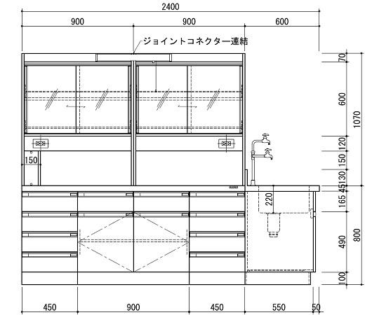 アズワン AS ONE 【個人宅不可】 中央実験台SAOK-2412W 3-3871-02 [A100701]