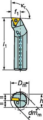 サンドビック コロターン107 ポジチップ用超硬防振ボーリングバイト F12Q-STFCL 09-R [A071727]
