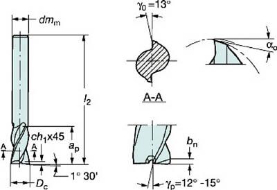 【◆◇マラソン!ポイント2倍!◇◆】サンドビック コロミルプルーラ 超硬ソリッドエンドミル H10F 超硬 R216.42-12030-AK22A H10F [A071727]