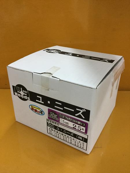 ユニーズ マルチドリルビスユニクロ5×25皿徳用紙大箱(1304本入)SQ2PH2(四角ビット)-110mm×4本・65mm×6本付 NMD525US-O [A050308]