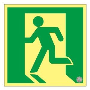 【◆◇エントリーで最大ポイント5倍!◇◆】日本緑十字社 高輝度蓄光避難誘導ステッカー標識 非常口 120×120mm S級認定品 #364805 [A061701]