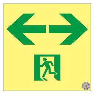 【◆◇5と0の日!3/25限定!最大獲得ポイント19倍!◇◆】日本緑十字社 高輝度蓄光避難誘導ステッカー標識 非常口⇔ 120×120 S級認定品 #364963 [A061701]