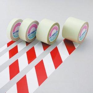 日本緑十字社 ガードテープ(ラインテープ) 白/赤(トラ柄) 100mm幅×100m #148143 [A210118]