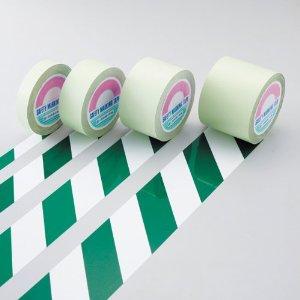 日本緑十字社 ガードテープ(ラインテープ) 白/緑(トラ柄) 100mm幅×100m #148144 [A210118]