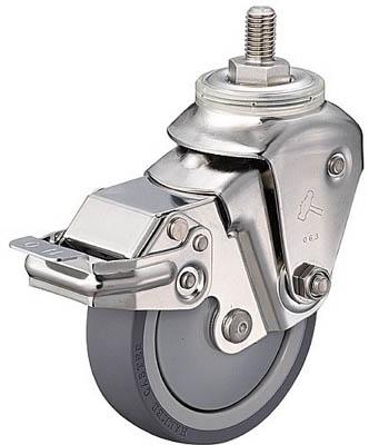 ハンマーキャスター ステンレスクッションEねじ込みM12SPウレタン125mm線径3.2 935SEA-BLB125S332 [A050207]