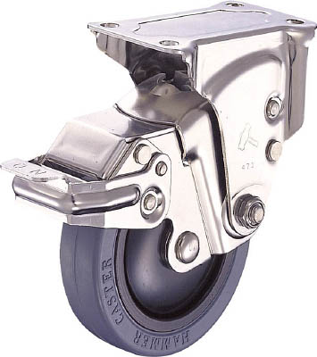 ハンマーキャスター オールステンレスクッションE固定SPゴム125mm線径2.3 935SER-FR125S23 [A050207]