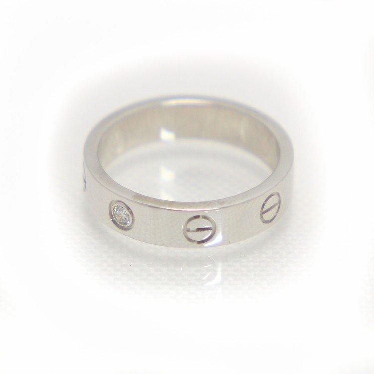 【中古】ジュエリー アクセサリー レディースジュエリー 指輪 カルティエ ミニラブリング K18WG 18金ホワイトゴールド 8号 4.3g ブランドジュエリー レディースアクセサリー