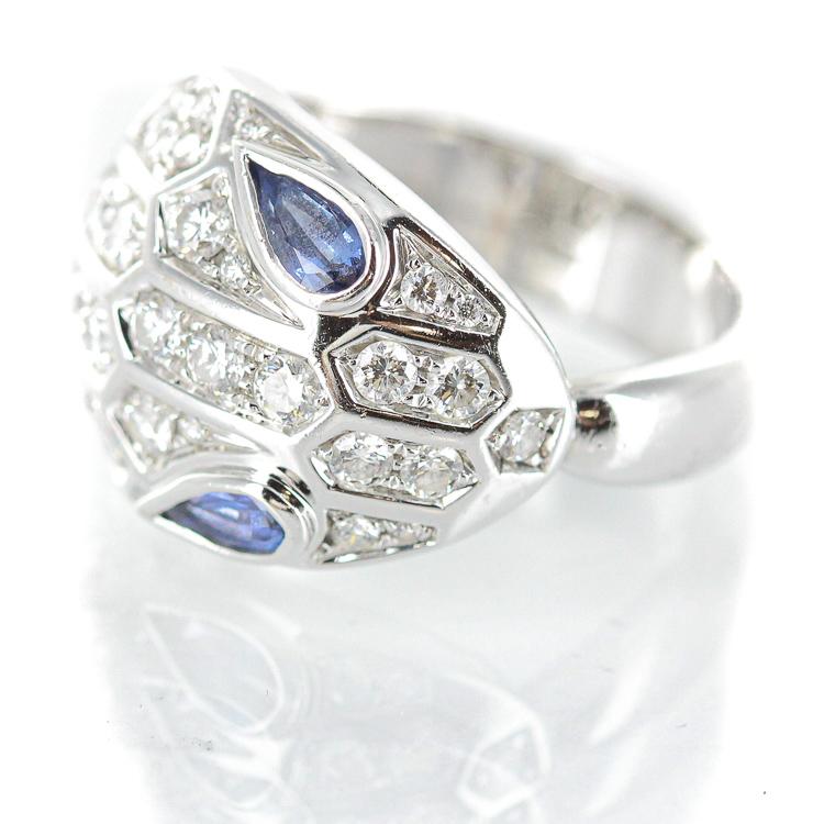 【中古】ブルガリ セルペンティ リング サファイア 0.43ct パヴェダイヤモンド 0.76ct 353536 AN857879 K18WG 18金ホワイトゴールド 10.5号 ブランドジュエリー ジュエリー レディースジュエリー 指輪 20-0968
