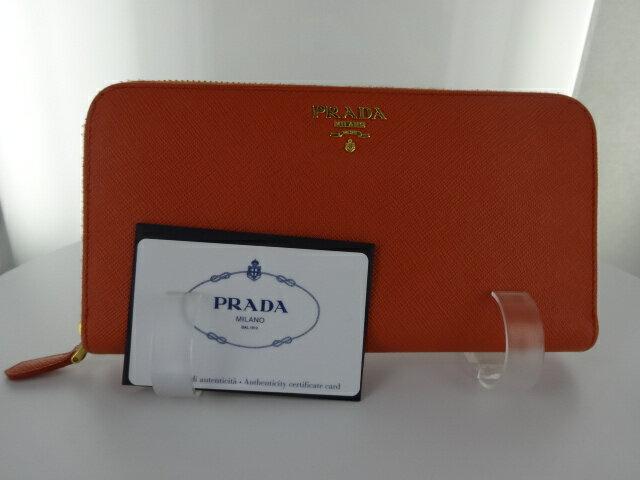 ブランド プラダ PRADA 1ML506 長財布 財布ラウンドファスナー オレンジ PAPAYA ブランドパパイヤカラー 【財布】【送料無料】【中古】