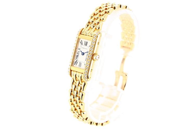 【中古】腕時計 レディース腕時計 時計 カルティエ タンクアロンジェ WB3005A3 クォーツ K18 18金ゴールド ホワイト 白文字盤 レディースウォッチ
