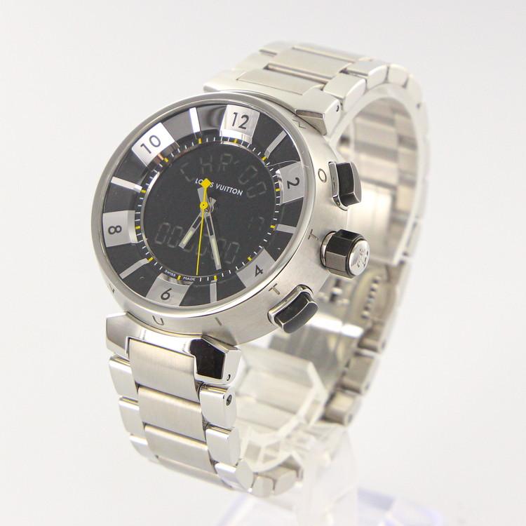 【中古】時計 腕時計 メンズ腕時計 ルイ ヴィトン タンブールインブラック Q118F クォーツ SS ステンレススチール 黒文字盤 メンズウォッチ ブランドウォッチ LV ビトン