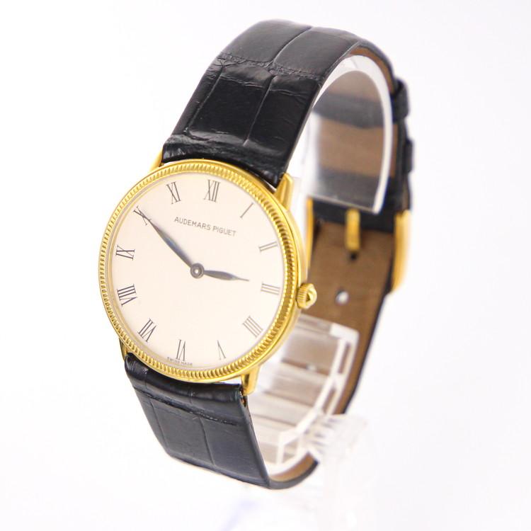 【中古】時計 メンズ腕時計 オーデマピゲ クォーツ K18 18金イエローゴールド 純正レザーベルト 総重量33.8g ホワイト文字盤 メンズウォッチ ブランドウォッチ