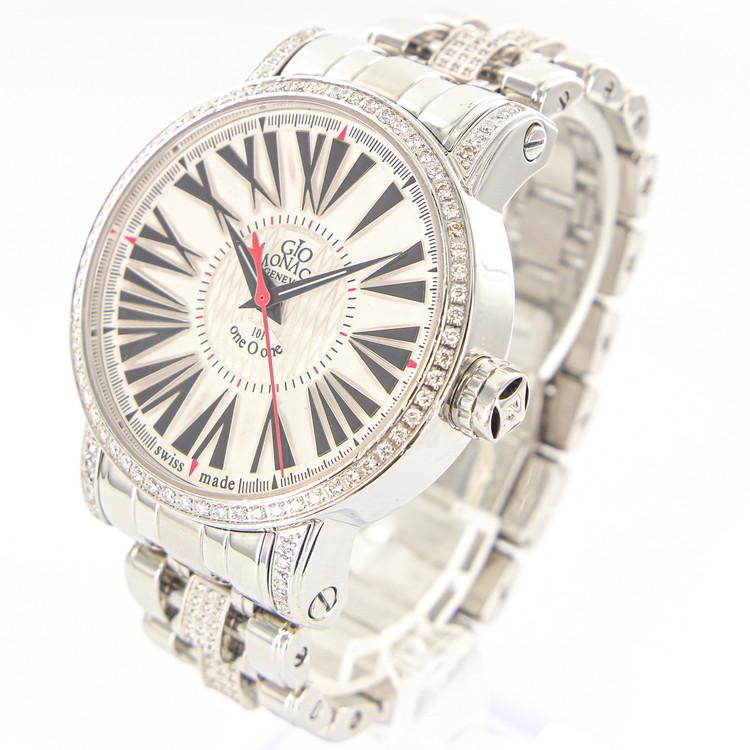 【中古】腕時計 メンズ腕時計 時計 ジオモナコ ワンオーワン 101TH ダイヤベゼル ダイヤベルト ステンレススチール 自動巻き 白文字盤 メンズウォッチ ブランドウォッチ