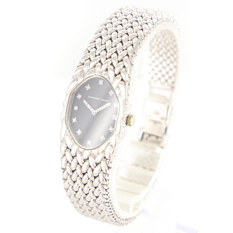【中古】時計 腕時計 レディース腕時計 オーデマピゲ 手巻 ダイヤ 12P K18 18金ホワイトゴールド 81.0g ブラック文字盤 レディースウォッチ ブランドウォッチ