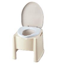 ハンドサポートのあるポータブルトイレ楽立AS