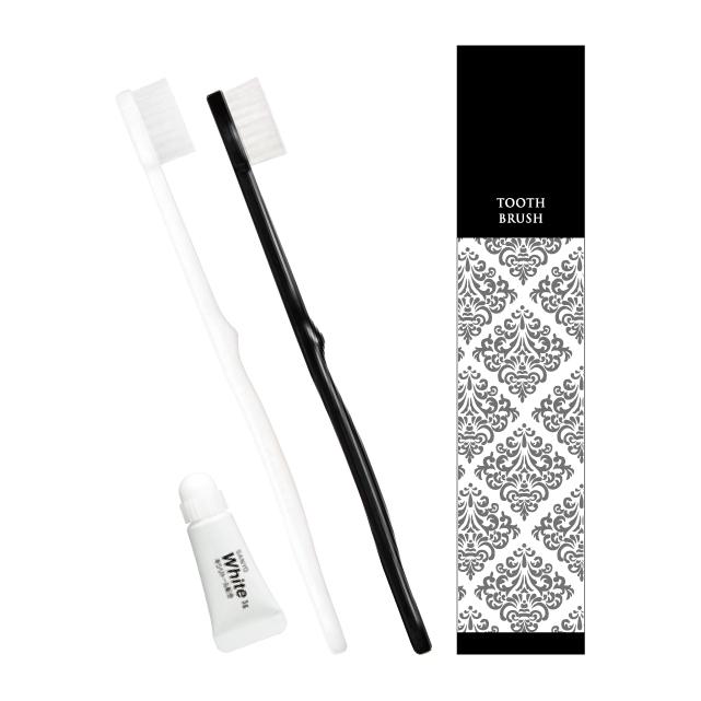 ピエンタ ホテル業務用歯ブラシ28穴 3gチューブ付 白250本 黒250本