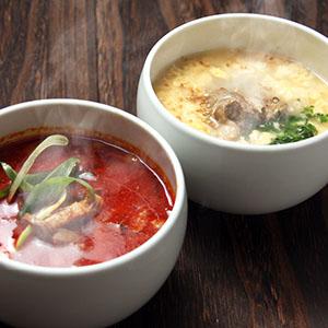 コクのあるスープほどよい辛さがクセになる 驚きの値段で 博多ユッケジャンと ほろっと柔らかく煮込まれた白濁あっさり テールスープのセットです ギフトに 送料込 博多 ユッケジャン テールスープ 各2個セット 和牛 コク旨スープ 冷凍 野菜がたっぷり 専門店 湯煎 国産 ギフト と 簡単 とろとろ 詰め合わせ