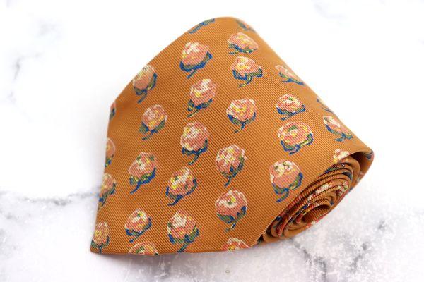 マーガレットハウエル 再再販 MARGARET HOWELL ブランド ネクタイ ゆうパケット 送料無料 良品 日本製 シルク 花柄 高い素材 中古 オレンジ