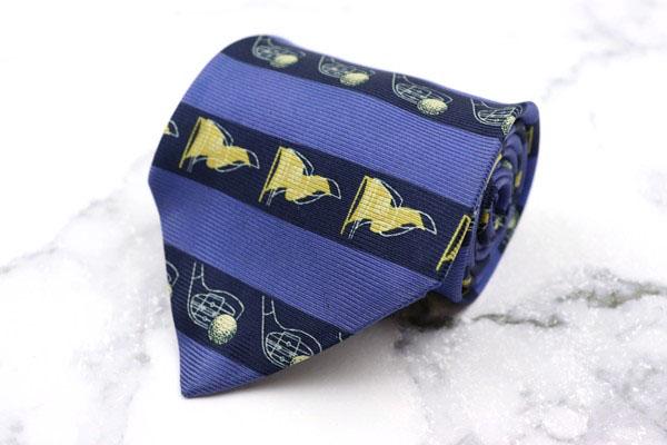 チャップスラルフローレン 価格 交渉 送料無料 CHAPS Ralph Lauren ブランド ネクタイ ゆうパケット 全品最安値に挑戦 ボーダー柄 良品 日本製 ブルー 中古 シルク ゴルフ柄