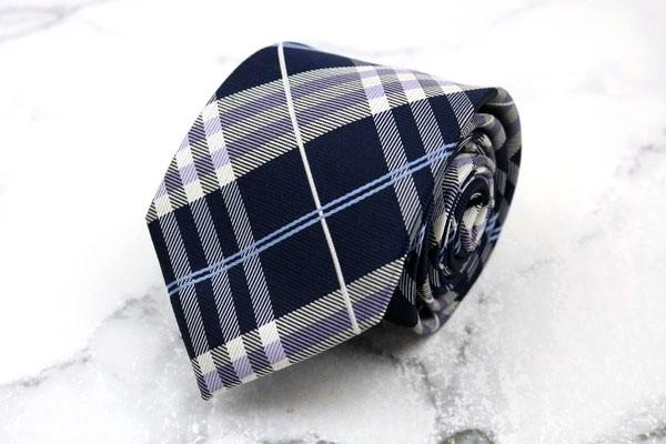 インヘイルエクスヘイル INHALE EXHALE お気に入 ブランド ネクタイ 品質保証 ゆうパケット ネイビー チェック柄 シルク 送料無料 中古 美品