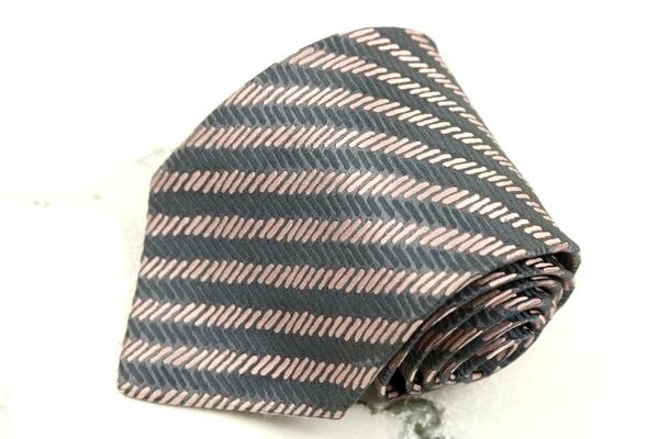 シャルベ Charvet フランス製 シルク ストライプ柄 グレー シルク ブランド ネクタイ 送料無料 【中古】【良品】