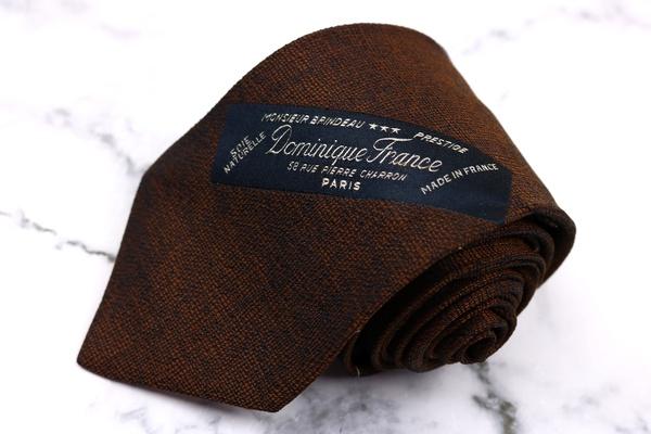 ドミニクフランス クラウン Dominique France Crown ブランドループ柄 ヘビーシルク ストライプ柄 ブラウン シルク ブランド ネクタイ 送料無料 【中古】【美品】