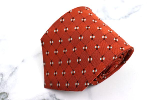 ヘンリーコットンズ 店内全品対象 Henry 税込 Cotton's イタリアスポーツブランド ブランド ネクタイ ゆうパケット 良品 チェック柄 オレンジ 中古 日本製 シルク 送料無料
