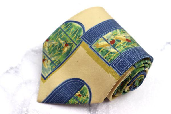 チャップスラルフローレン 超激得SALE CHAPS Ralph Lauren ブランド ネクタイ ゆうパケット 送料無料 日本製 2020 新作 中古 ベージュ 良品 総柄 窓柄 シルク