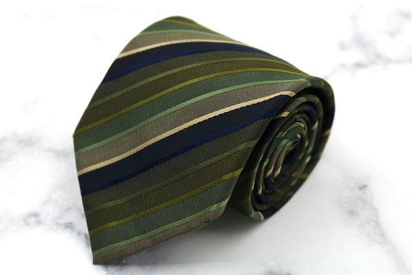 ダナキャラン DONNA KARAN DKNY ブランド ネクタイ ゆうパケット 日本製 特別セール品 美品 ストライプ柄 グリーン 祝日 送料無料 中古 シルク