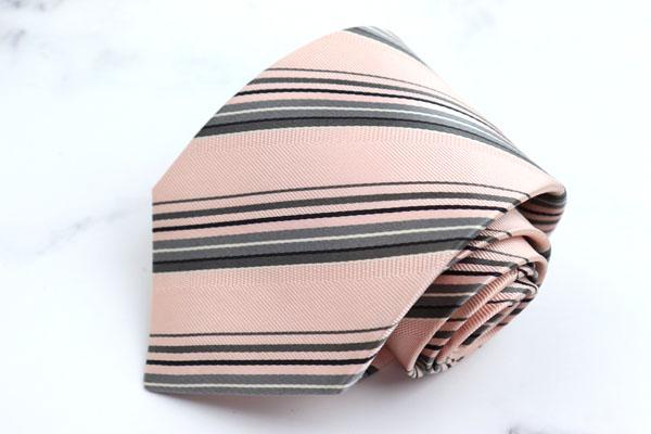 コムサデモードメン COMME CA DU MODE ブランド ネクタイ ゆうパケット 購買 送料無料 シルク 中古 日本製 ストライプ柄 ピンク 美品 NEW