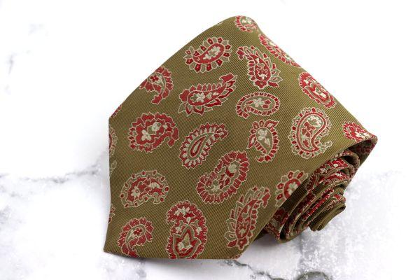 安心と信頼 ジャンフランコフェレ GIANFRANCO FERRE ブランド 1着でも送料無料 ネクタイ ゆうパケット 送料無料 シルク ブラウン ペイズリー柄 イタリア製 良品 中古