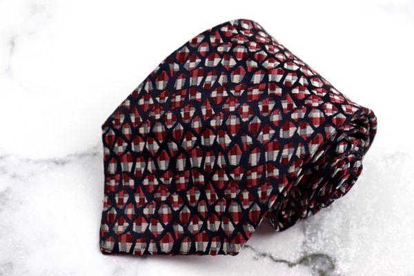 銀座田屋 GINZA TAYA ブランド ネクタイ ゆうパケット 送料無料 ピンク 刺繍 シルク 並行輸入品 中古 総柄 良品 税込