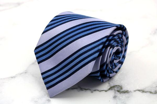 トラサルディ 限定モデル TRUSSARDI ブランド ネクタイ ゆうパケット 送料無料 伊製 ブルー コットン ストライプ柄 美品 中古 期間限定送料無料 シルク